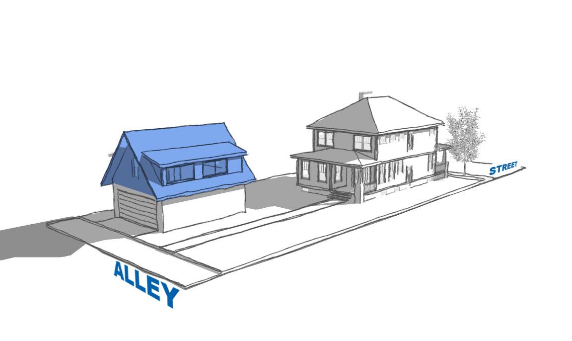 graphic showing ADU above detached garage