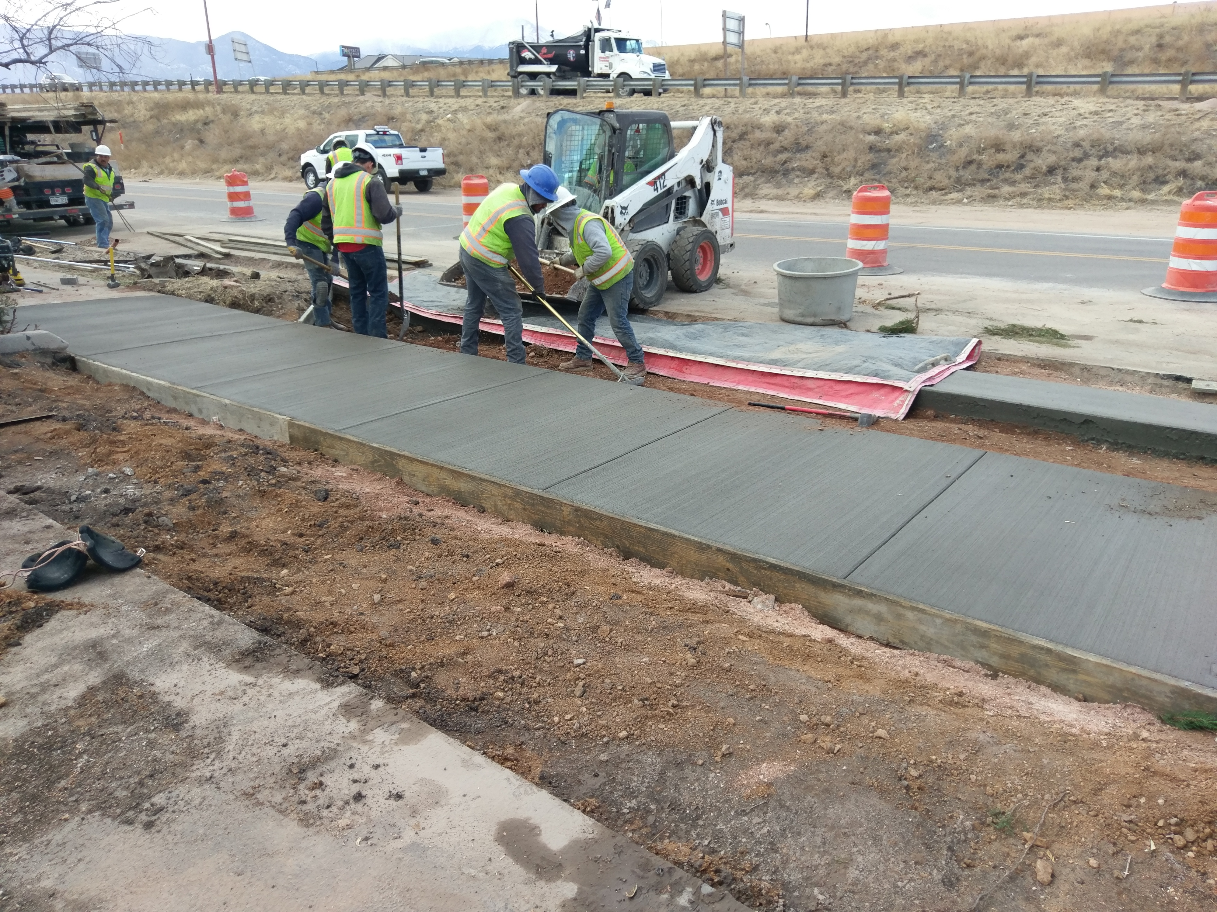 Road construction work on Sinton Road
