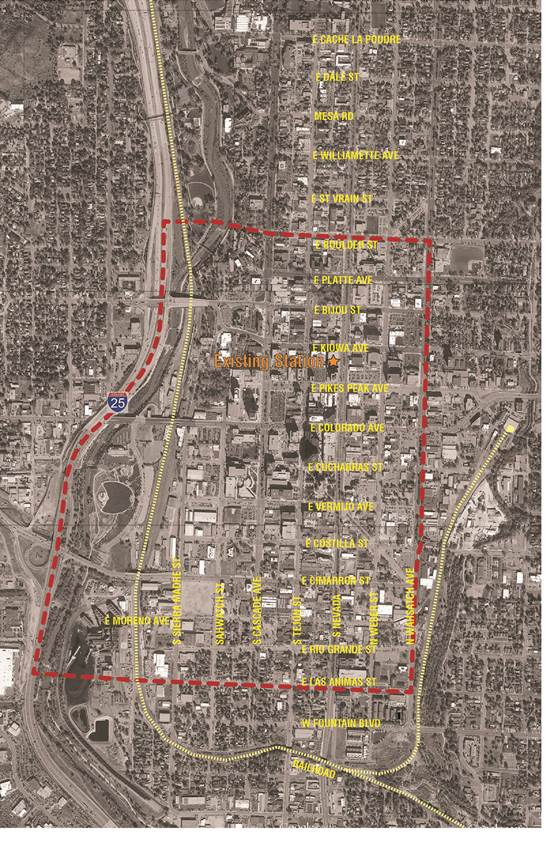 Map of downtown with a border for areas of consideration for a new station