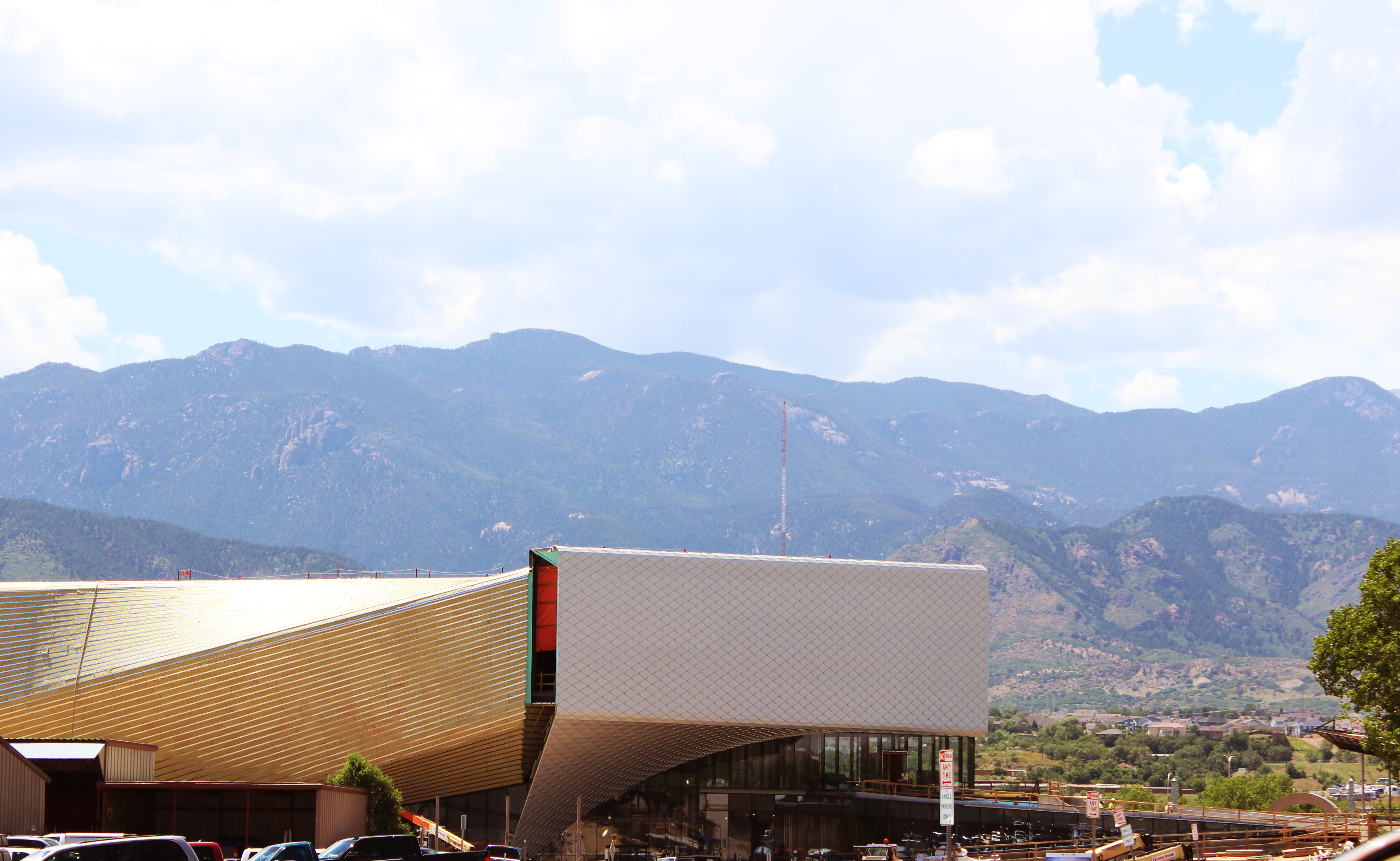 Olympic museum with mountains in the background