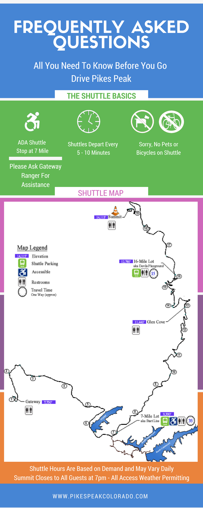map and faq of pikes peak