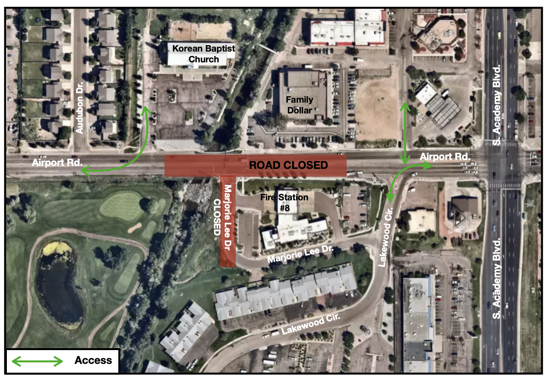 Map showing Airport Road closure west of South Academy over Spring Creek. Detours in place.