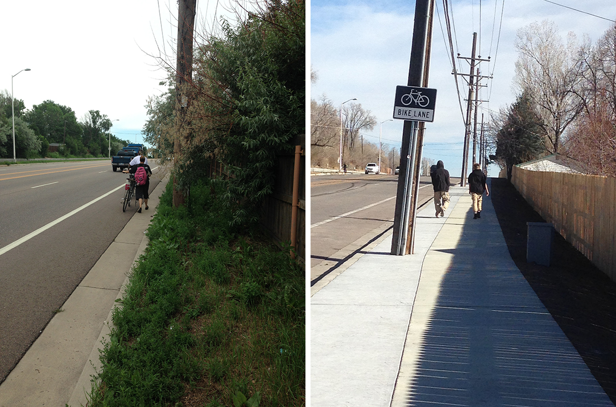 Before and after photos: pedestrian walking on side of road compared to pedestrian walking on new sidewalk.