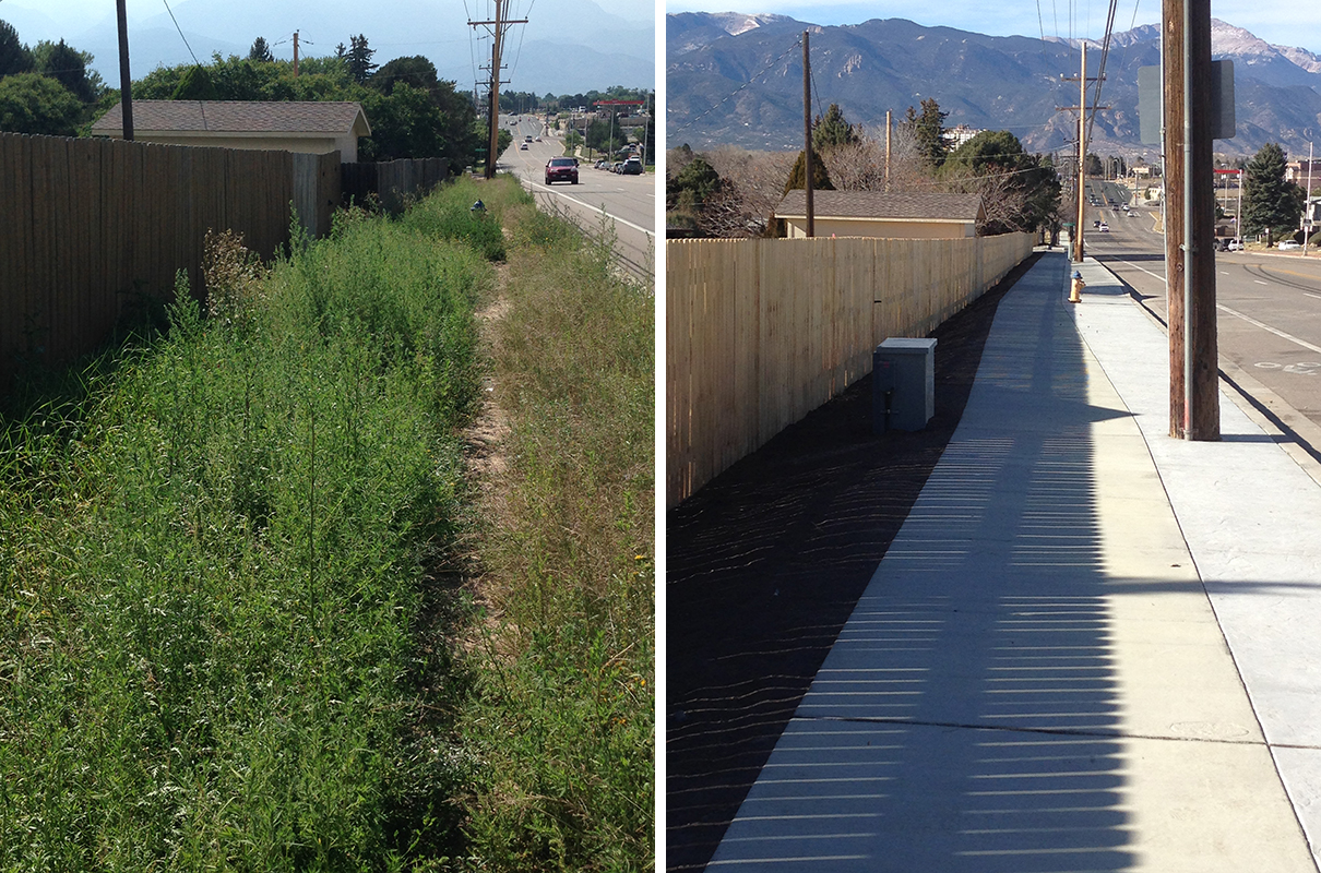 Before and after photos: dirt trail through overgrown grass compared to new sidewalk