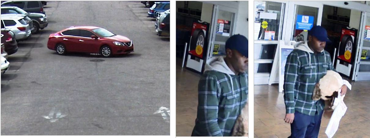 surveillance images: 1 red four door car. 2 close up of suspect black man wearing blue baseball cap with no logo, green and white flannel with a gray hood and blue pants. 3 another image of the suspect.