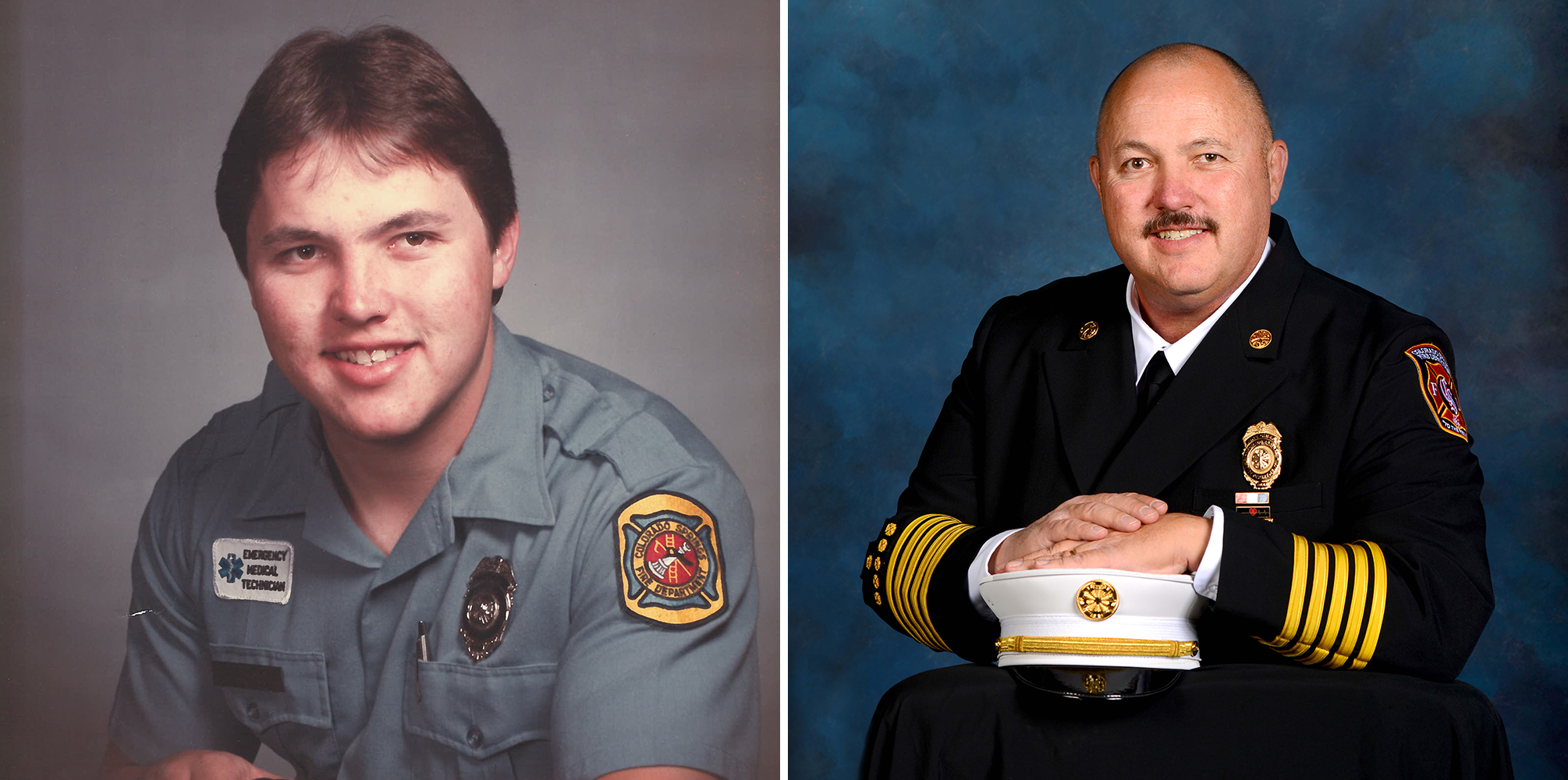 side by side headshots of Ted Collas. Photo on the left is a photo at the beginning of his careers with Colorado Springs Fire Department. Photo on left is a photo of him near the end of his career with CSFD