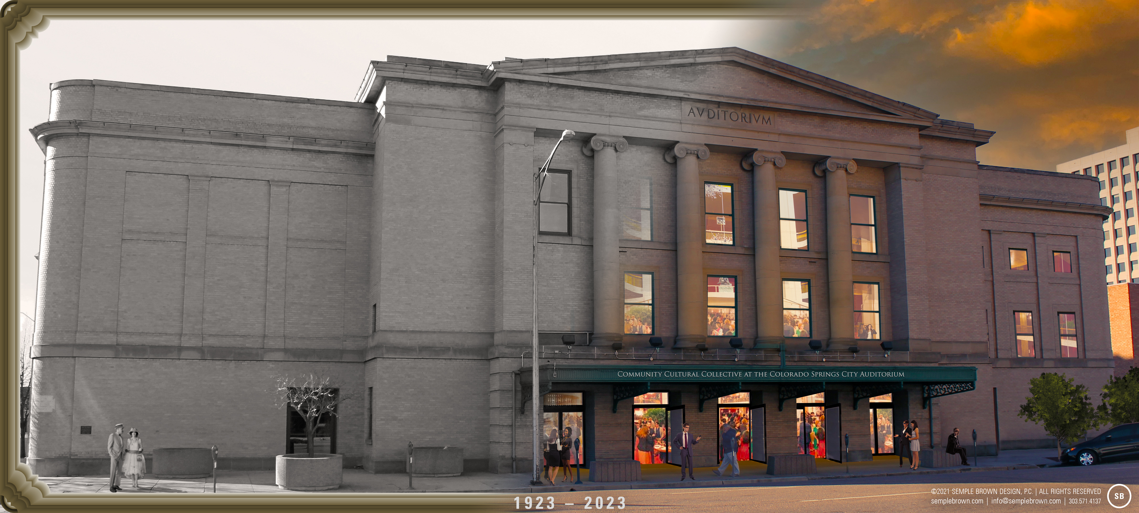 Exterior view of front of City Auditorium. 1932-2023