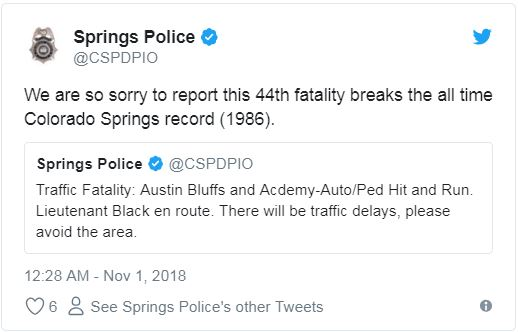 Tweet from Colorado Springs police reporting 44th traffic fatality