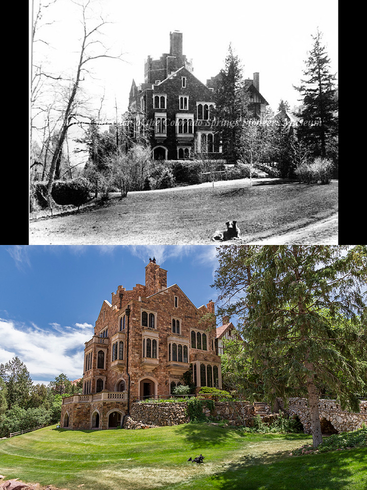 historic photo next to current day version of Glen eyrie Castle