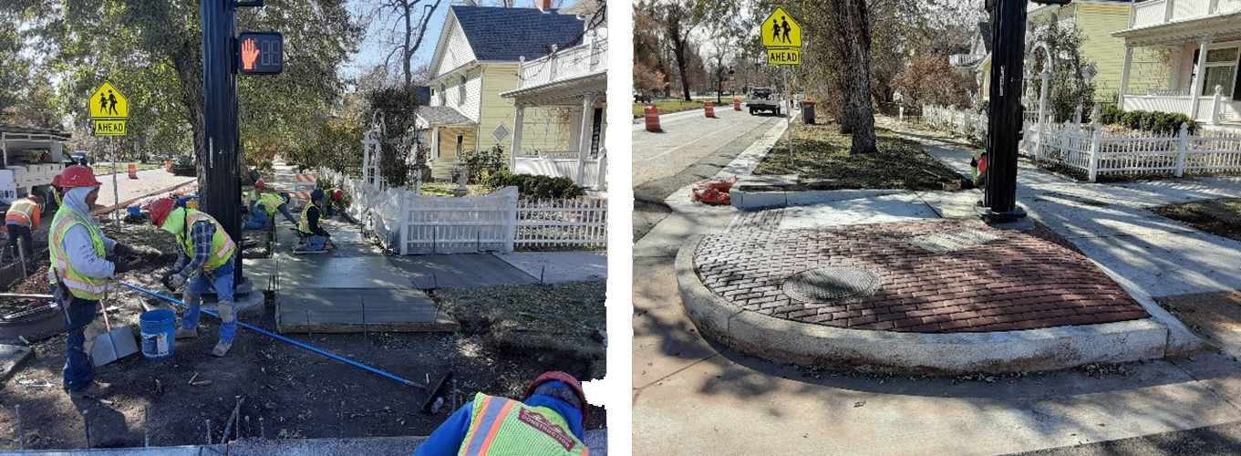 before and after of work on new curb and new curb.