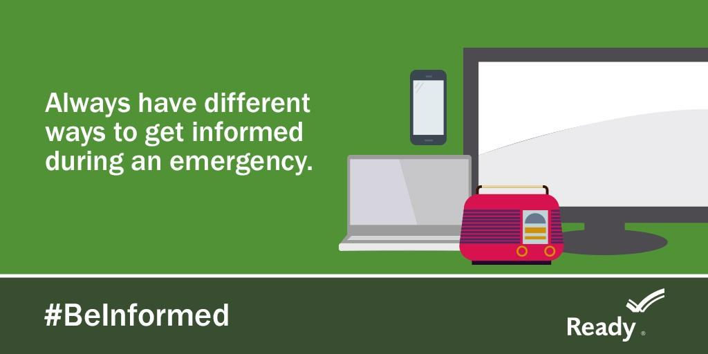 "graphic says, ""always have different ways to get informed during an emergency."""