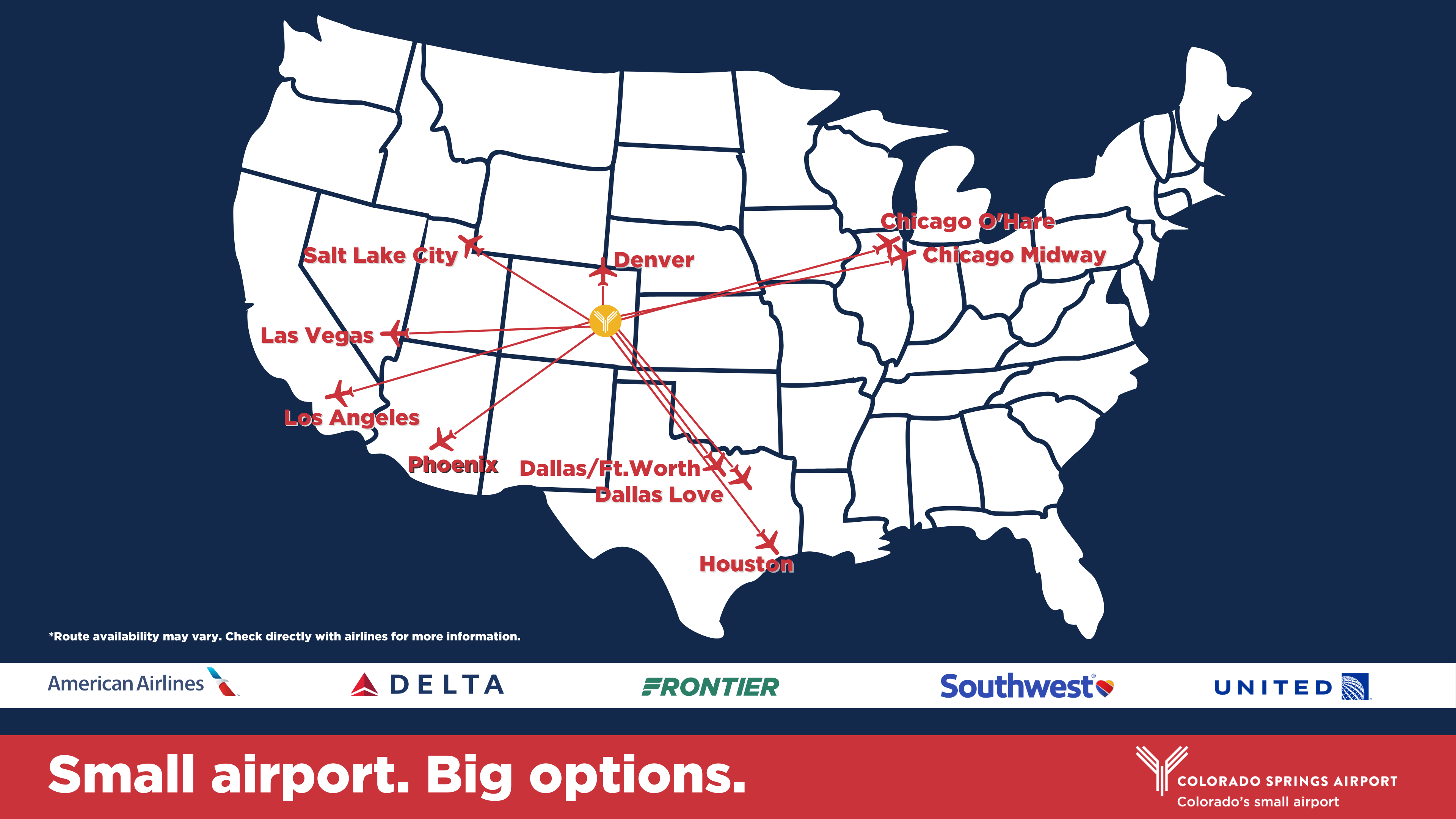 map showing flights from Colorado Springs to the following destinations: Denver, Salt Lake City, Las Vegas, LA, Phoenix, Dallas/Fort Worth, Dallas Love, Houston, Orlando, Atlanta, Chicago Midway, Chicago O'Hare