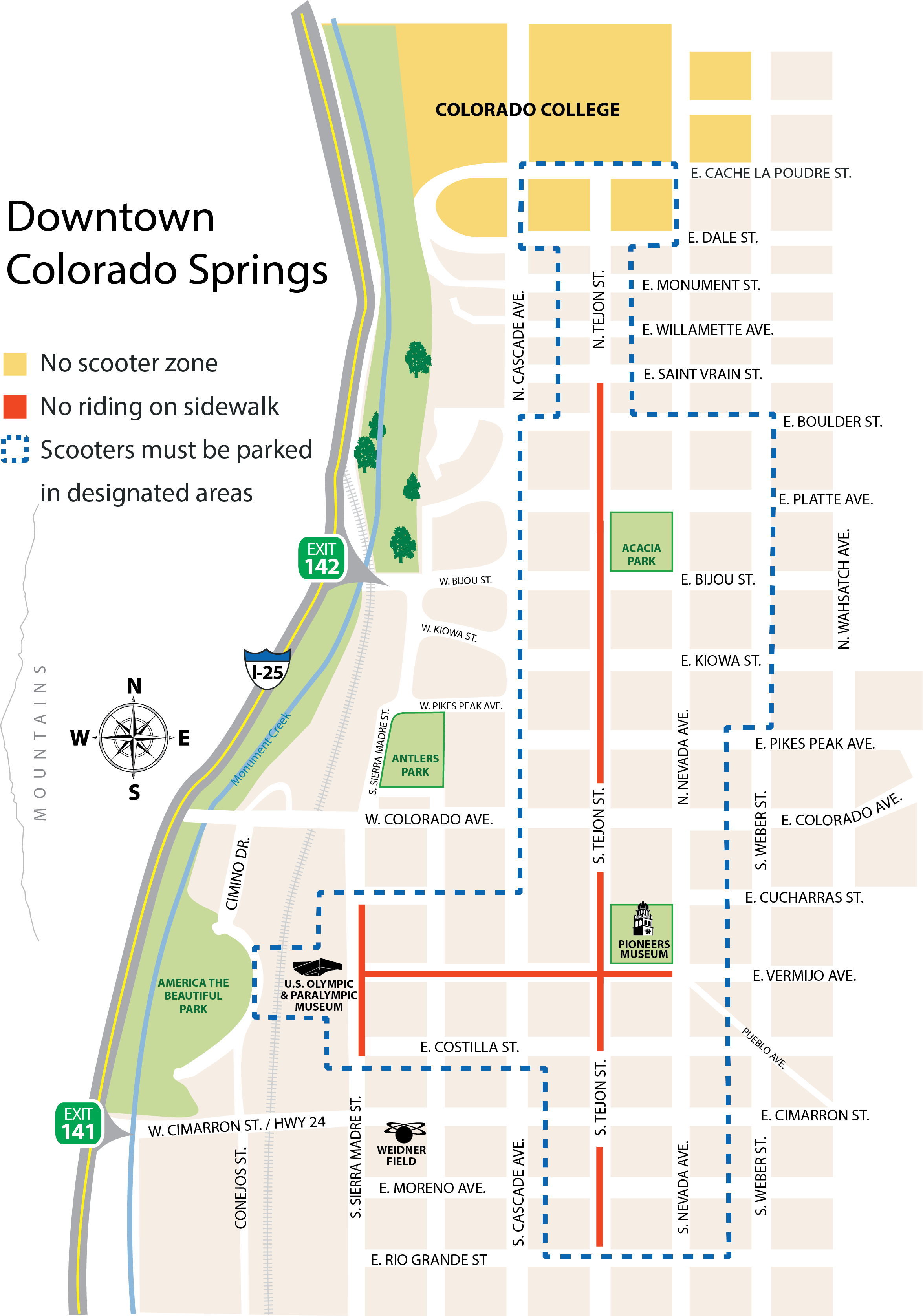 map of downtown scooter area