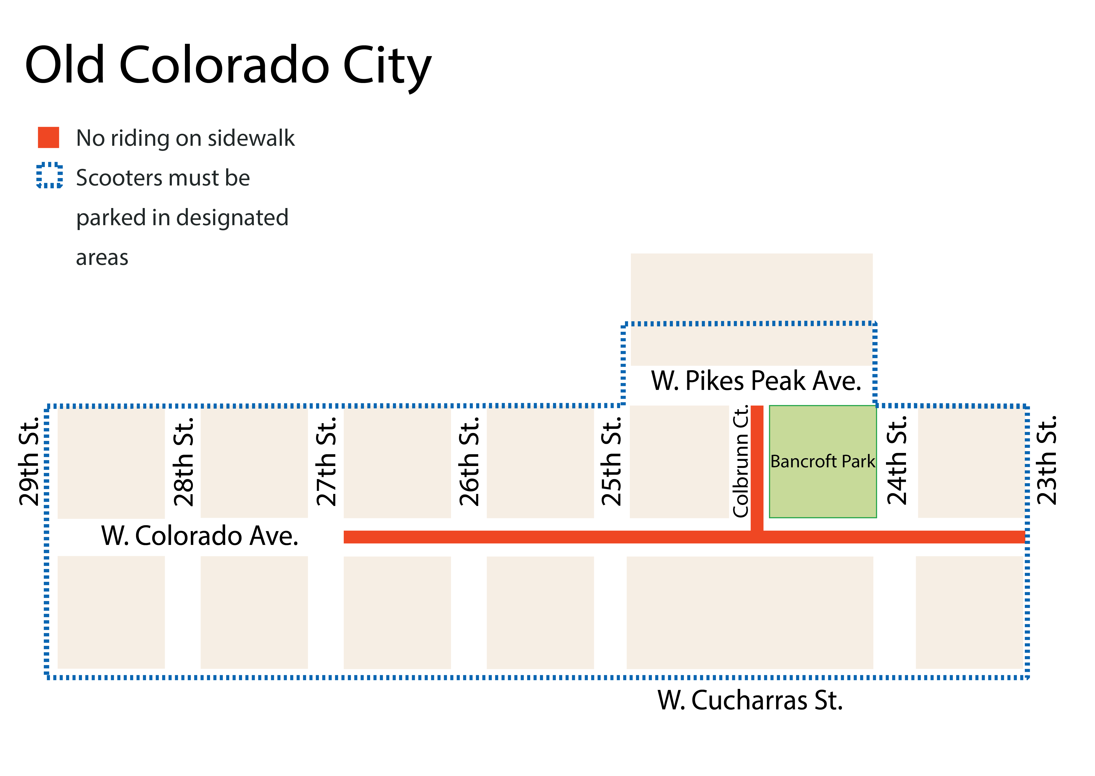 Map of Old Colorado City where scooters cannot be ridden on sidewalks and must be parked in designated areas
