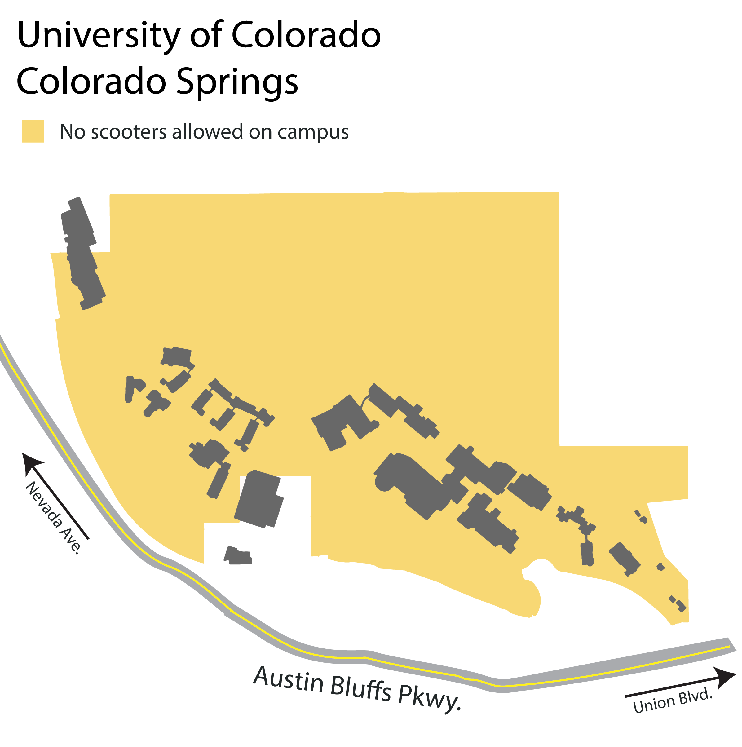Map of University of Colorado Colorado Springs where scooters are not allowed on campus