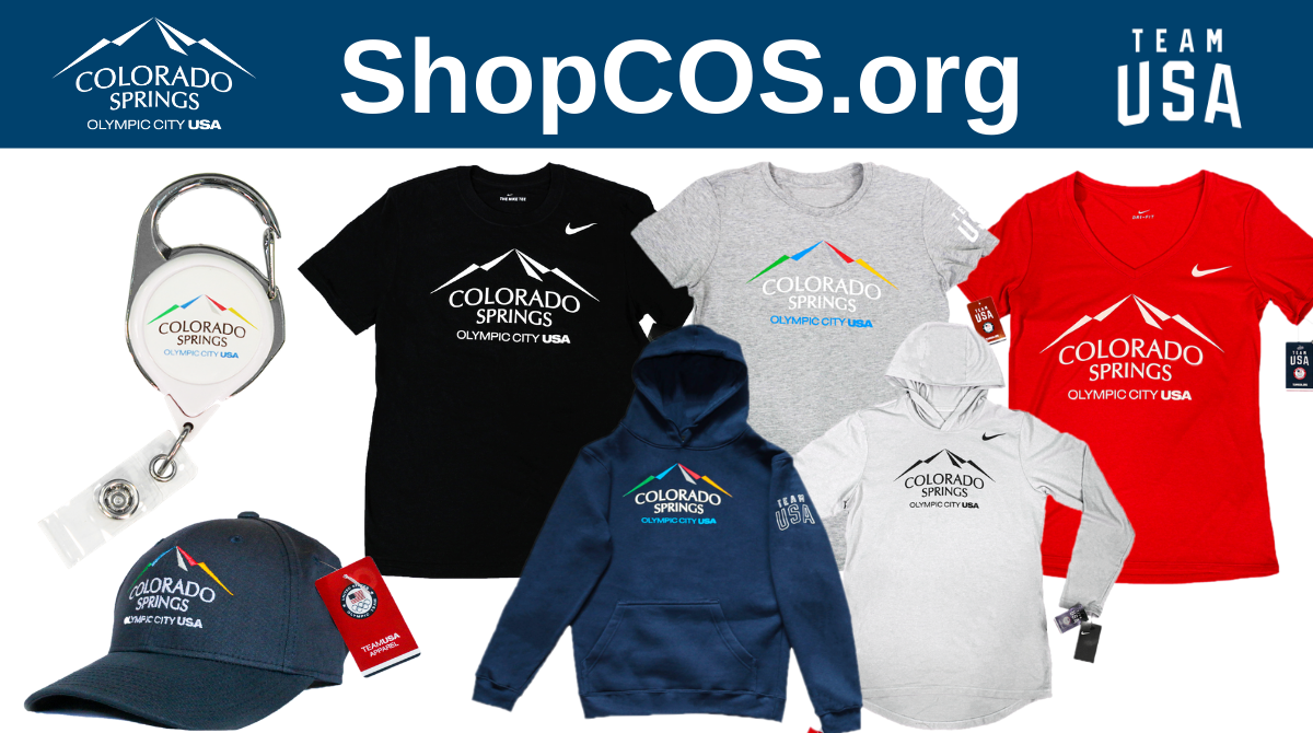 shopcos.org city and team usa logos. various Olympic City USA clothing