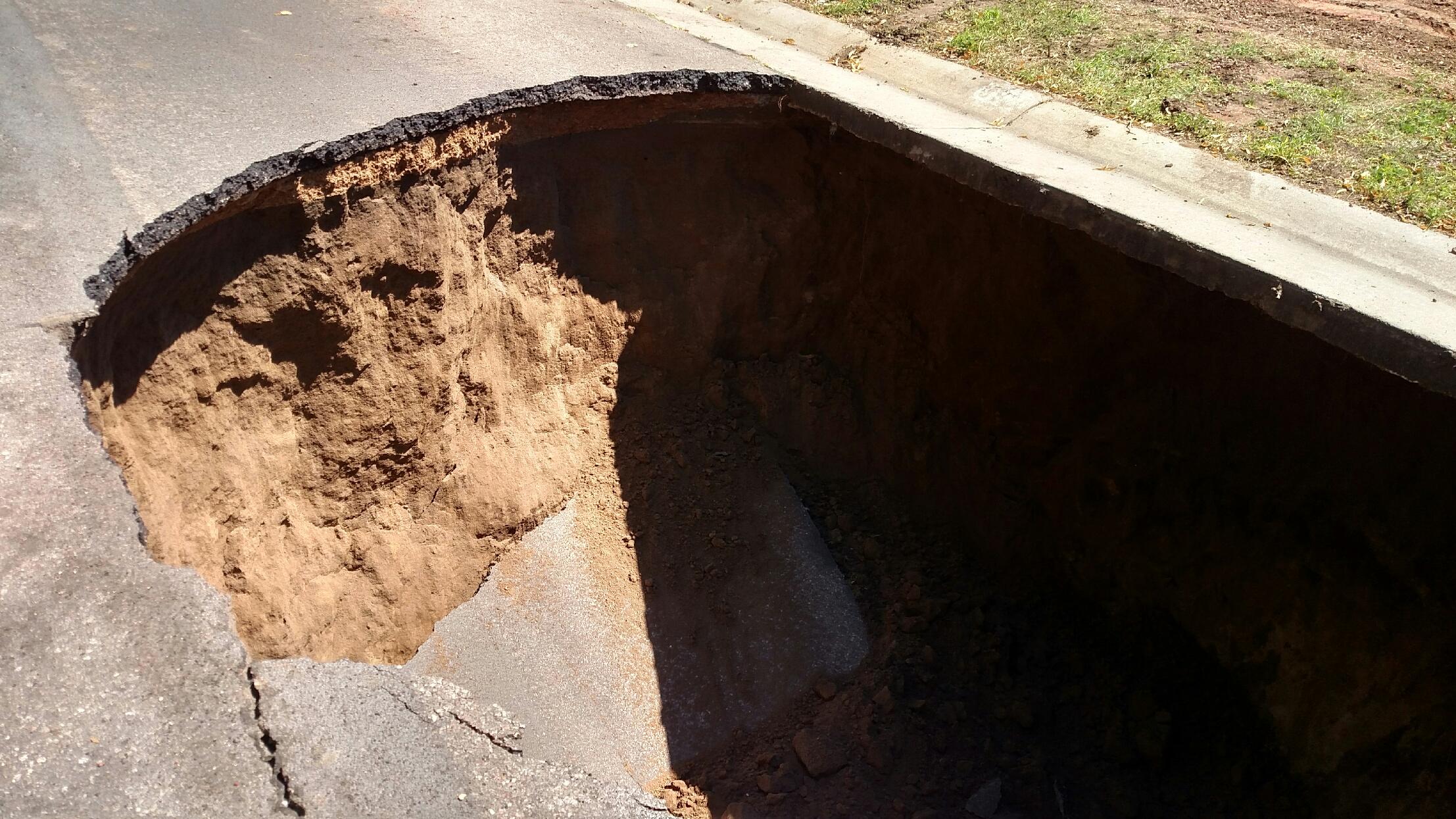 Closeup of a large sinkhole