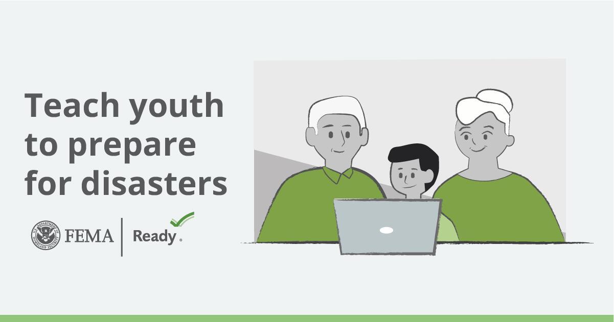 teach youth to prepare for disasters. FEMA logo. Ready.gov