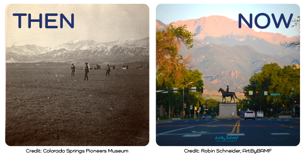 Then and Now photo of Colorado Springs. Then men stand on open land with mountains in the background. Now is a modern city street with Pikes Peak in the background