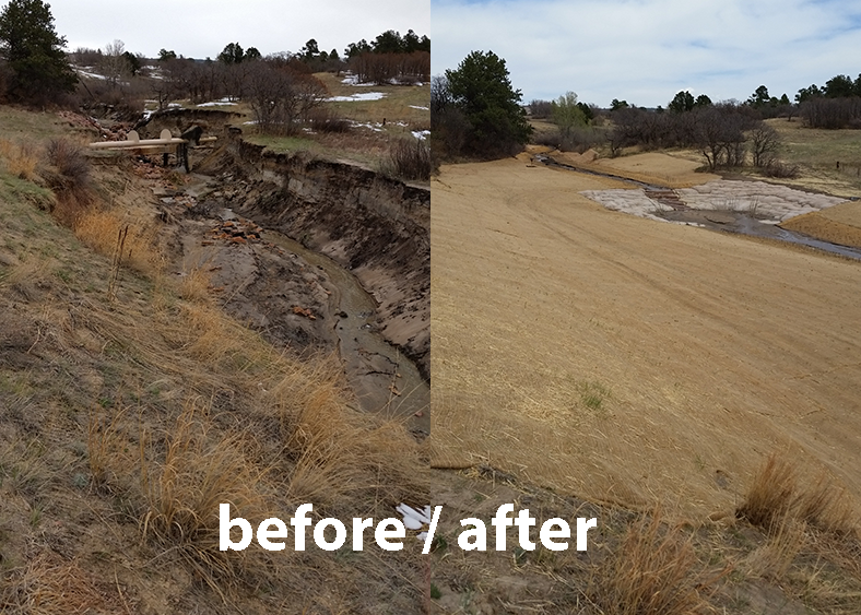 before and after photos of Monument Creek branch showing the improved stormwater landscape