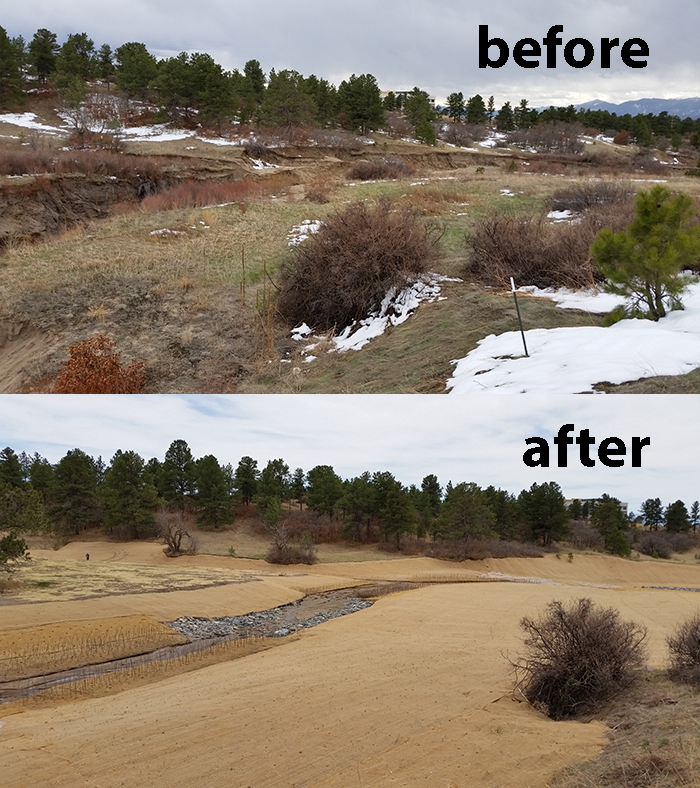 Another before and after view of the Monument Branch area showing improved stormwater infrastructure and landscape