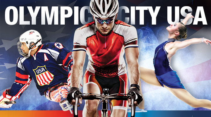 Olympic City USA graphic with athletes