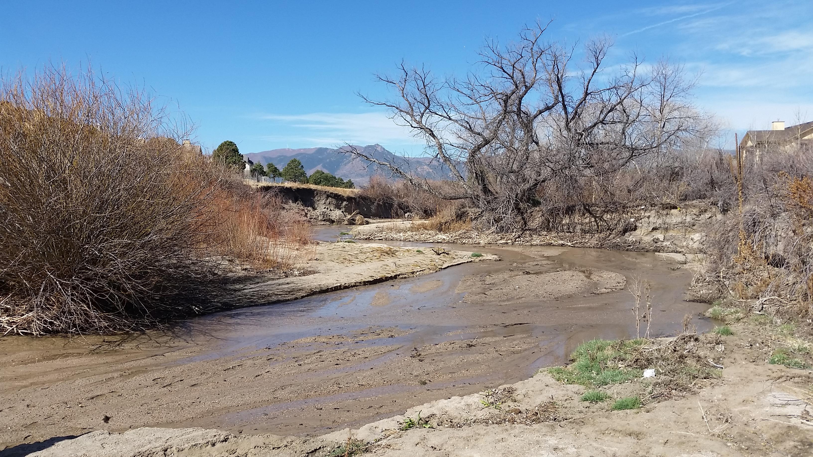 sandy creek and unstable creek banks along Pine Creek