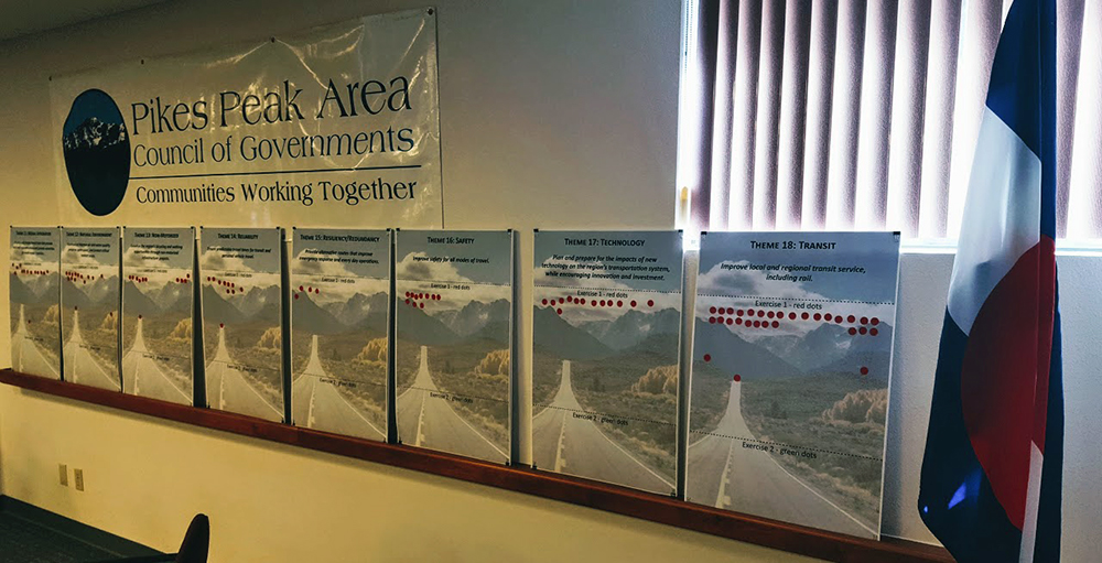 photo of posters displaying priorities for the Regional Transportation Plan