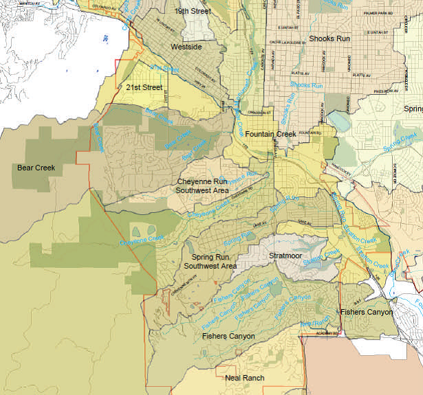 DAB Drainage Basin Planning Study Colorado Springs - Us drainage basins map