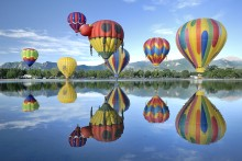 Hot Air Balloons hovering over Memorial