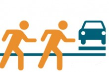 Graphic of people walking and cars