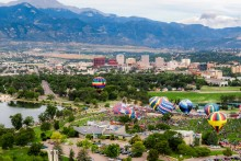 Aerial view of downtown Colorado Springs
