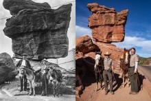 black and white photo of two people and two horses standing in front of balanced rock. Second color photo of two people and two horses standing in front of balanced rock.