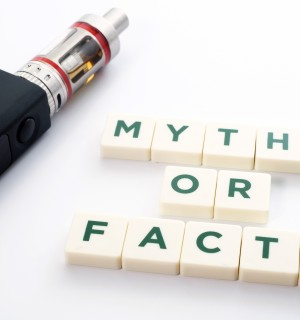 "E-cigarette next to letter blocks that spell out ""myths or facts"""