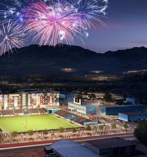 artist rendering of downtown stadium during soccer match