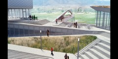 rendering showing walkway with pedestrian bridge in distance