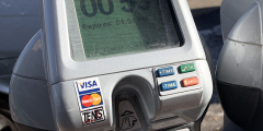 closeup of parking meter