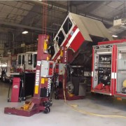 fire truck in repair shop