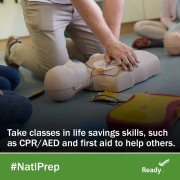 take classes in life savings skills, such as CPR/AED and first aid to help others