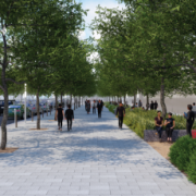 rendering of wide pedestrian walkway along newly designed Vermijo Street
