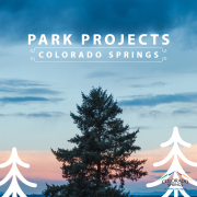 """tops of pine trees against a colorful sky. """"Park Projects Colorado Springs"""""""