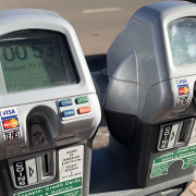 closeup of parking meters