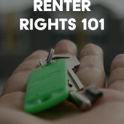 "hand holding keys out for someone. text says ""renter rights 1010"""