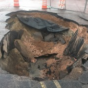 large sinkhole in parking lot