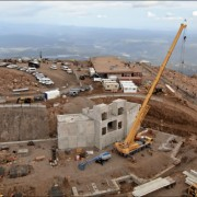 Aerial view of summit house construction on Pikes Peak