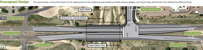 Architectural rendering of the new bridge over Sand Creek from Troy Hill Road to Babcock Road