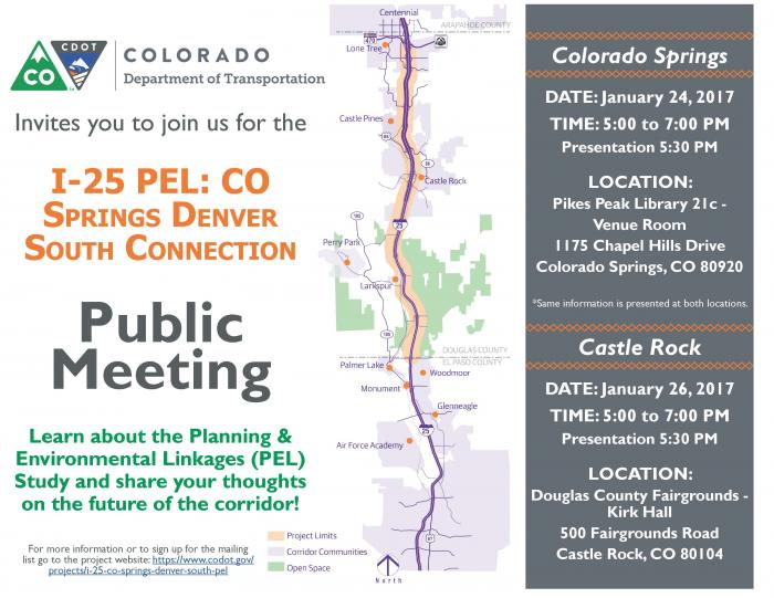 Flyer for C-DOT's public meeting. The information about the Colorado Springs meeting is duplicated on the calendar item.