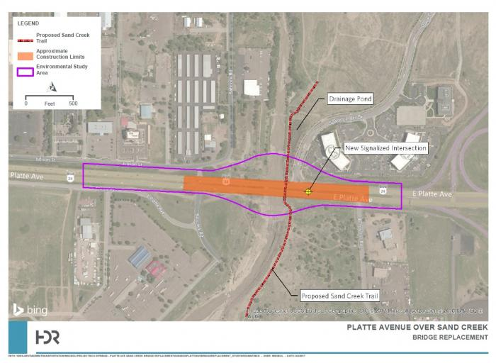 Map showing the boundaries of the Platte over Sand Creek bridge project
