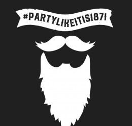 graphic silhouette of a mustache and beard with the words #partylikeits1871