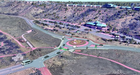 rendering of aerial view of Garden of the Gods park entrance off 30th street with new roundabout.